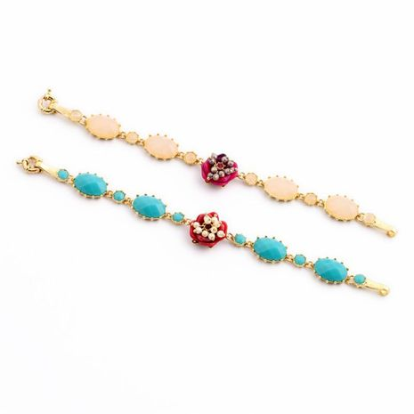 Fresh and lovely artificial gemstone flower ladies bracelet NHQD154596's discount tags