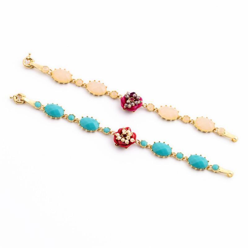 Fresh and lovely artificial gemstone flower ladies bracelet NHQD154596