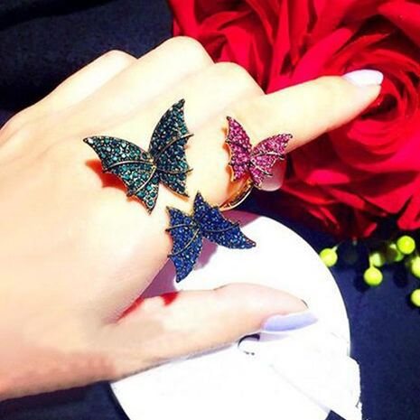 Europe and America wild micro-set three-dimensional butterfly opening ring NHNT154612's discount tags