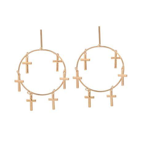 Simple Alloy Big Ring Jesus Faith Cross Earrings NHHN154631's discount tags