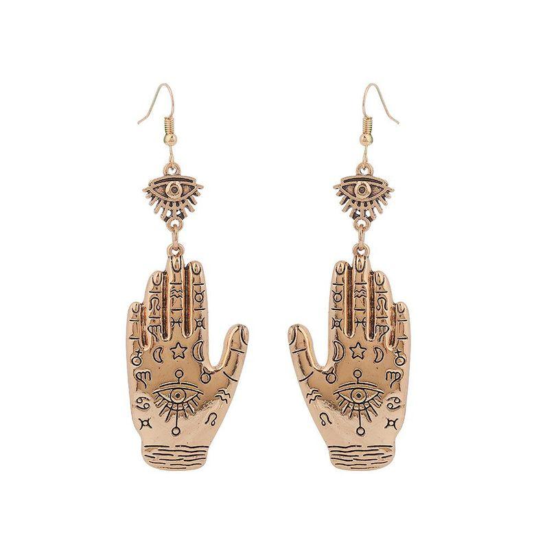 Retro Simple Alloy Evil Eye Fatima Palm Earrings NHHN154635