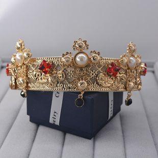 Diadema de corona de perlas de diamantes llenos de moda NHNT154642's discount tags