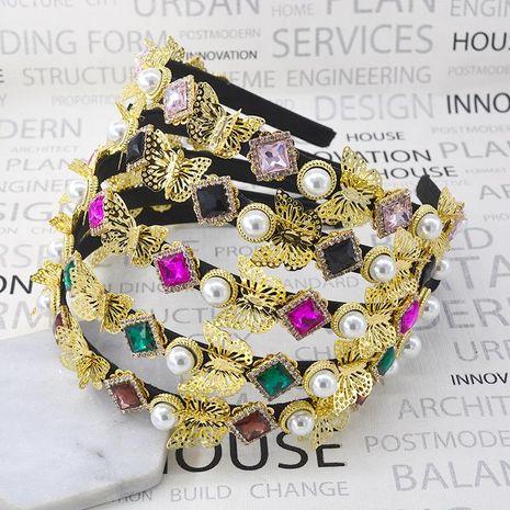 Retro three-dimensional butterfly rhinestone crystal pearl headband NHNT154648's discount tags