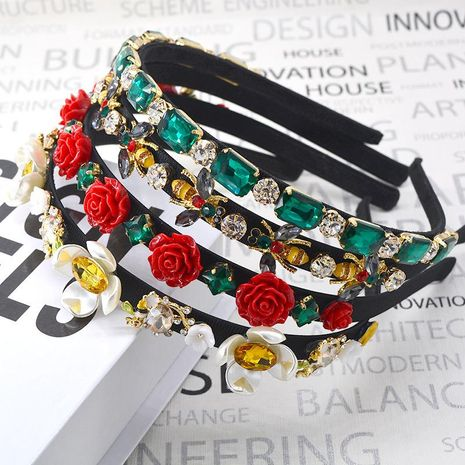 Fashion vintage headband flower butterfly wide headband NHNT154649's discount tags
