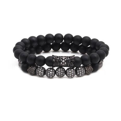 Micro-inlaid zircon ball black matte set bracelet NHYL154655's discount tags