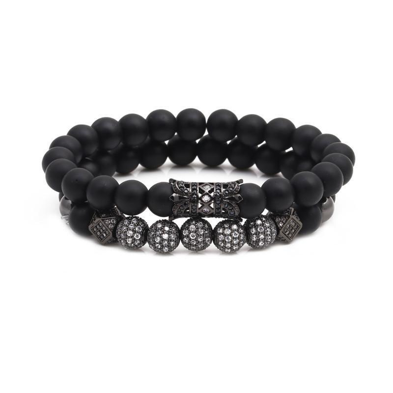 Micro-inlaid zircon ball black matte set bracelet NHYL154655