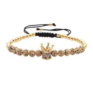 Pulsera de corona tejida de cuentas de cobre de moda NHYL154660's discount tags