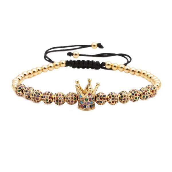 Fashion copper bead woven crown bracelet NHYL154660
