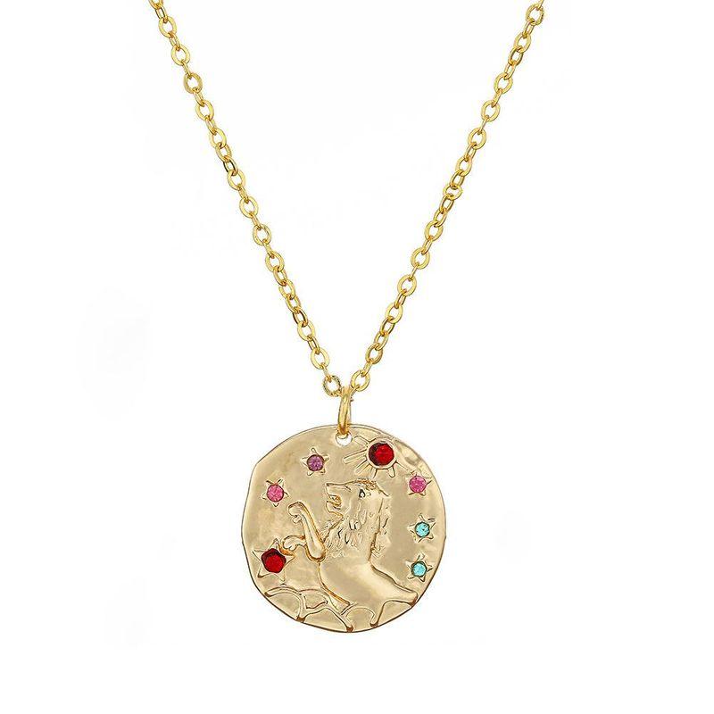 Simple alloy diamond 12 constellation necklace NHHN154663