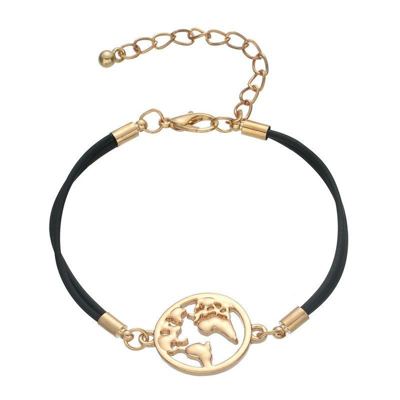 Simple alloy map multicolor bracelet NHHN154666
