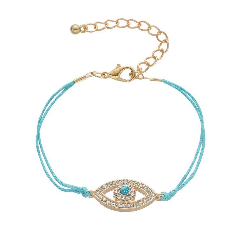 Simple Alloy Faux Gemstone Fatima Devil's Eye Eye Bracelet NHHN154665