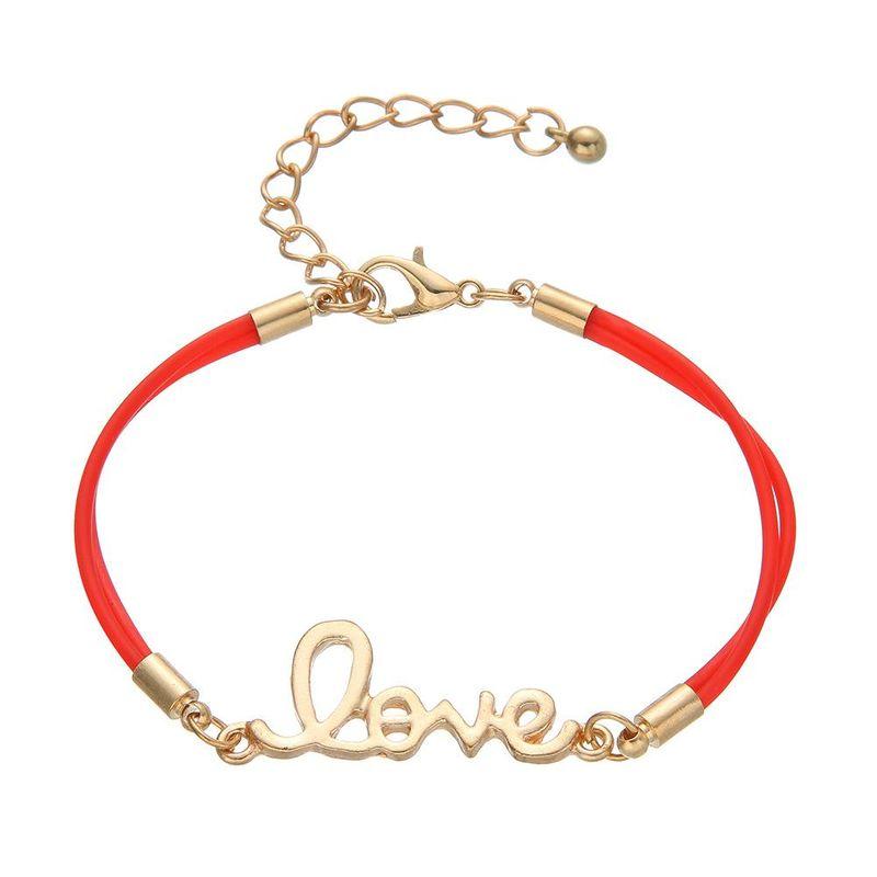 Simple alloy letter love braided bracelet NHHN154669