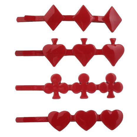 Fashion Spades Red Heart Square Plum Poker Metal Hair Accessories NHHN154670's discount tags