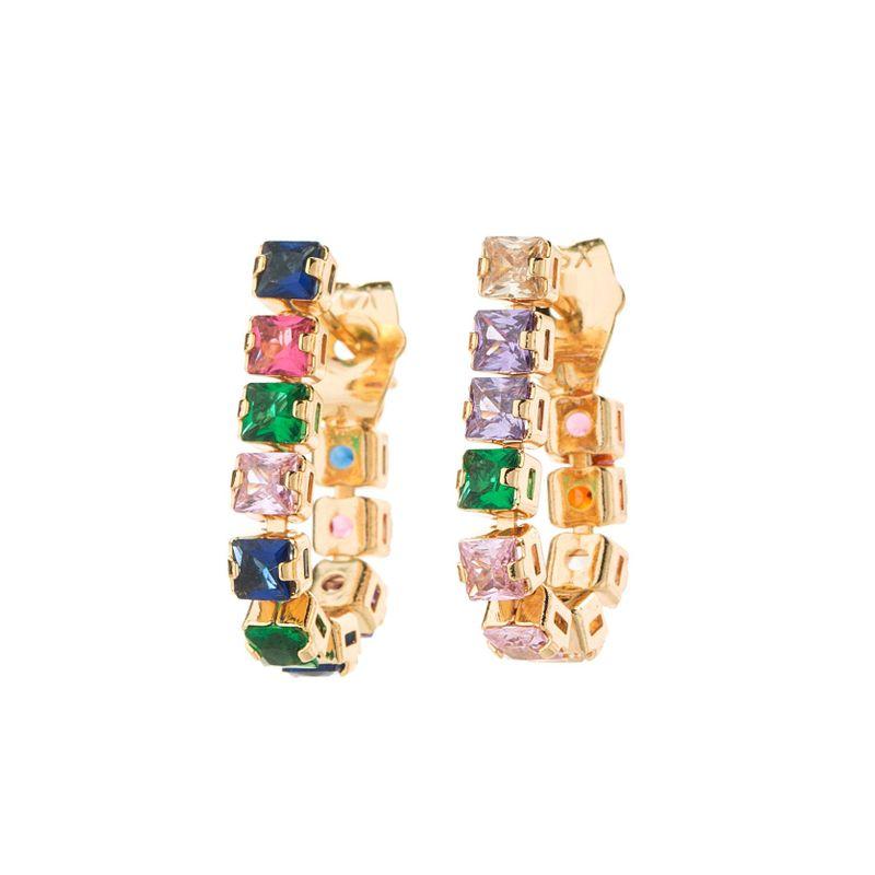 New fashion color diamond hoop earrings NHLL154693