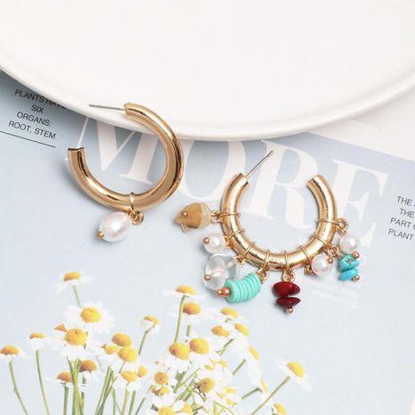 Fashion asymmetric diamond-studded pearl hoop earrings NHJJ154697's discount tags