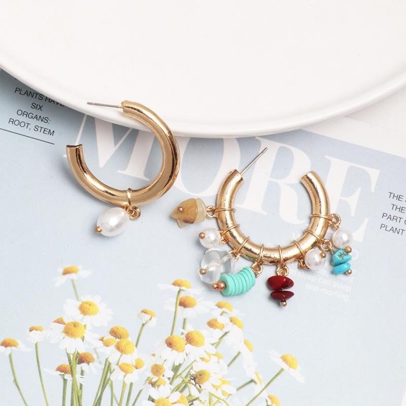 Fashion asymmetric diamond-studded pearl hoop earrings NHJJ154697