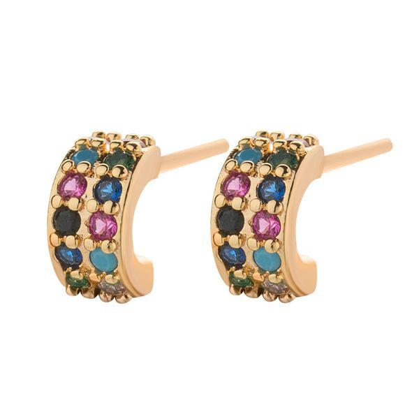 Fashion geometric colored diamond hoop earrings NHLL154705