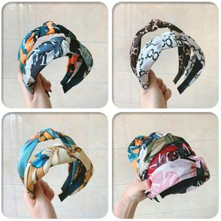 Sweet printed wide cross knotted headband NHOF154730's discount tags