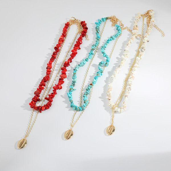 Nuevo collar de aleación turquesa de doble capa NHLL154738