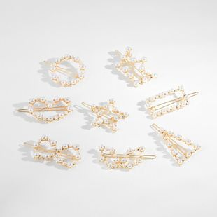 New geometric alloy pearl hairpin NHLL154739's discount tags