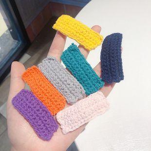 Pinzas de pelo de lana rectangulares simples Pinza BB tejida a mano de hilo de lana de color sólido NHMS154745's discount tags