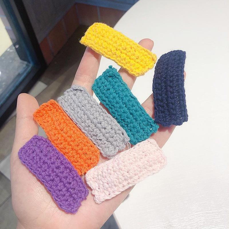 Pinzas de pelo de lana rectangulares simples Pinza BB tejida a mano de hilo de lana de color sólido NHMS154745