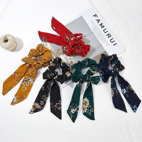 Big ribbon cloth print hair rope NHOF154796's discount tags