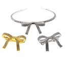 Full diamond super flash artificial gemstone bow headband NHNT154574