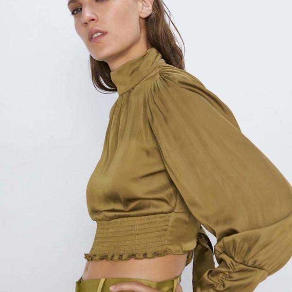 Autumn back neckline smock blouse  NHAM154803