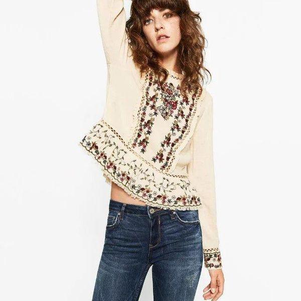 Fashion simple embroidery blouse NHAM154805
