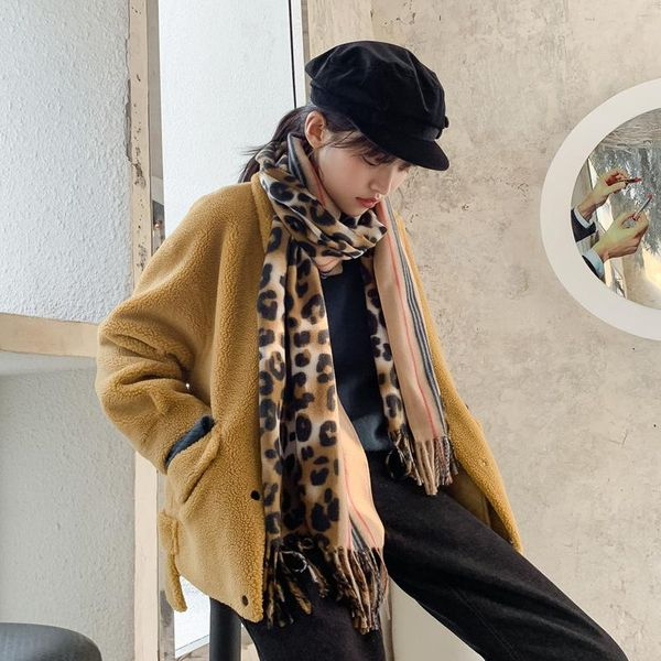 Fashion warm leopard imitation cashmere scarf NHTZ154810