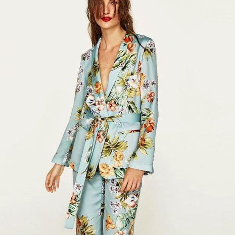 Printed belt suit,  small suit jacket, top NHAM154811's discount tags