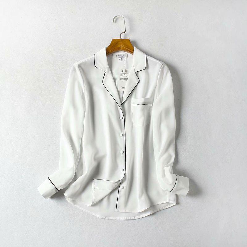Classic suit collar French style insert long sleeve shirt NHAM154817