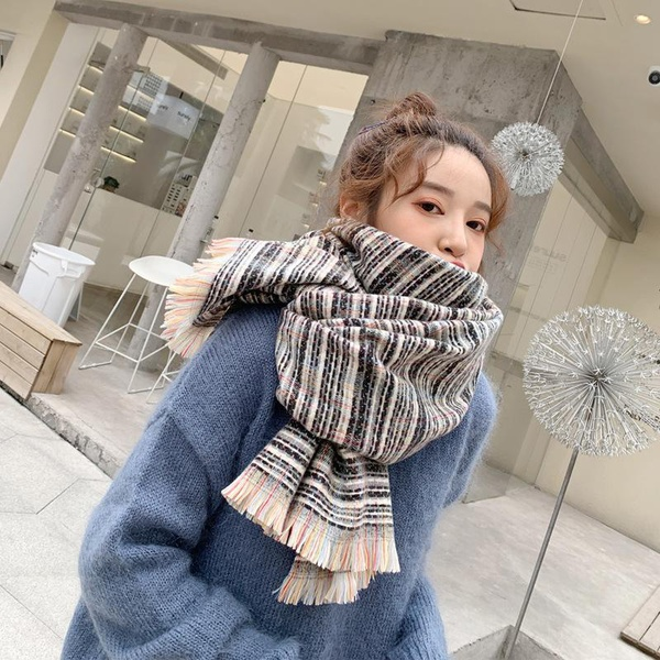 Fashion plaid small fragrance imitation cashmere shawl scarf NHTZ154843