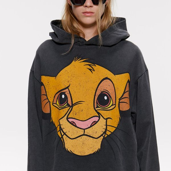 Loose Hooded Lion King Print Sweatshirt NHAM154854
