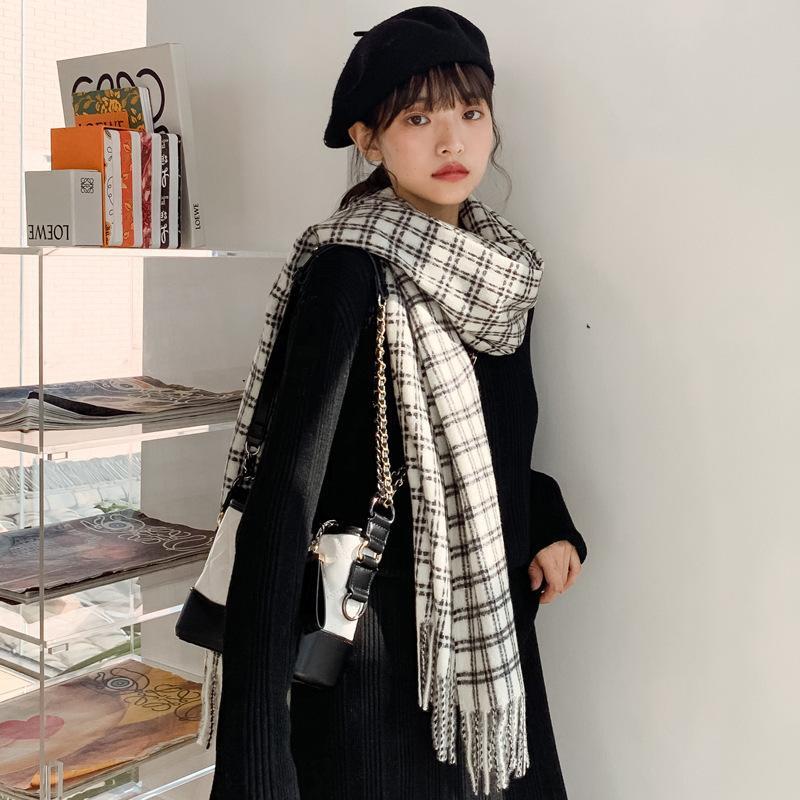 Korean version of cashmere shawl warm thick long lattice collar NHTZ154861