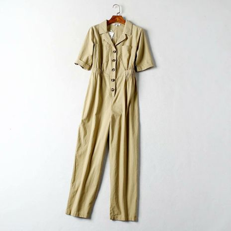 Autumn cotton sand wash one-piece short-sleeved overalls NHAM154866's discount tags