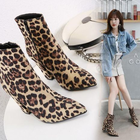 European and American leopard-printed pointed high-heeled Martin boots NHSO154901's discount tags