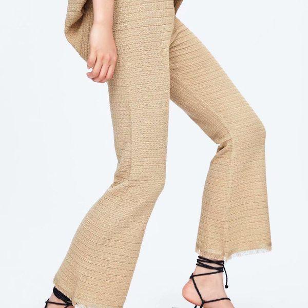 Autumn raw knit pants stretch flare pants NHAM154906