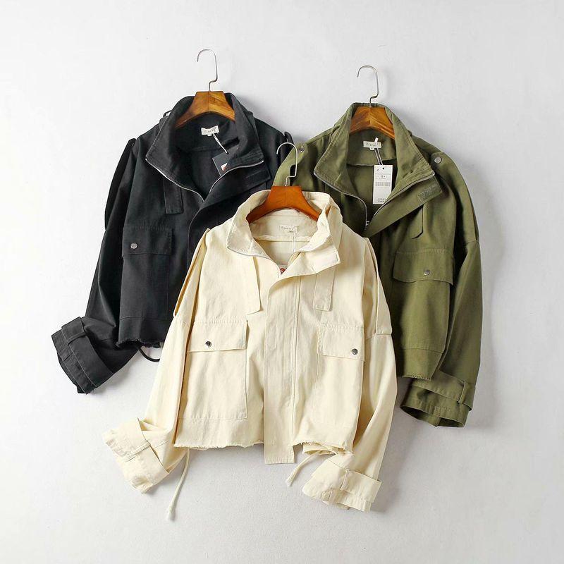 Cotton twill sand wash short loose jacket NHAM154933