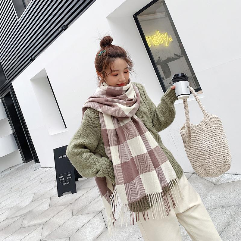 Fashion tassel cashmere warm shawl scarf NHTZ154966