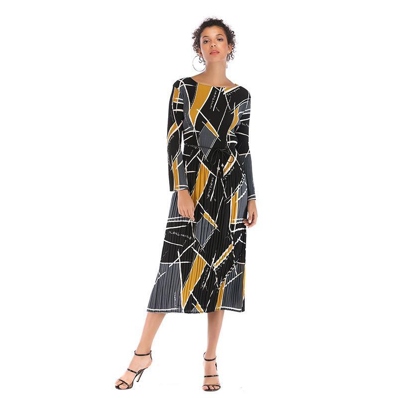 Long printed chiffon dress NHTK154976