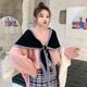 Sleek minimalist cloak with bow tie scarf NHTZ154894
