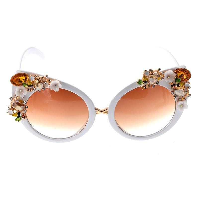 Classic artificial gem fox head sunglasses NHNT154982