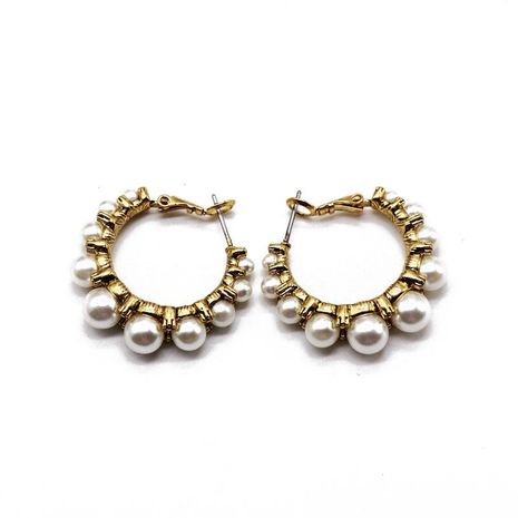 Temperament versatile copper with pearl earrings NHOM154985's discount tags