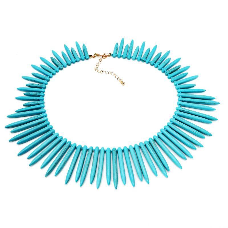 Fashion short strip turquoise necklace NHOM154986