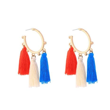 European and American color tassel alloy earrings NHQD155000's discount tags