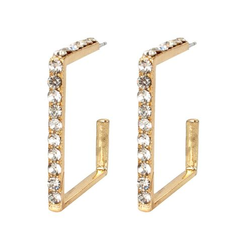 Korean version of temperament artificial gemstone letter-shaped rhinestone earrings NHCT155005's discount tags