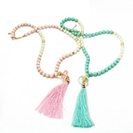Fashion simple resin acrylic beads alloy necklace NHOM155012's discount tags