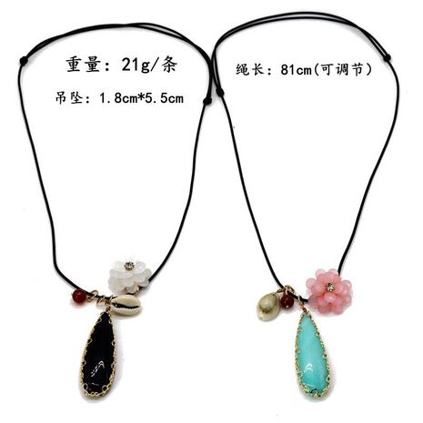 Drop-shaped openwork pattern bag gold-rimmed stone pendant necklace NHOM155015's discount tags